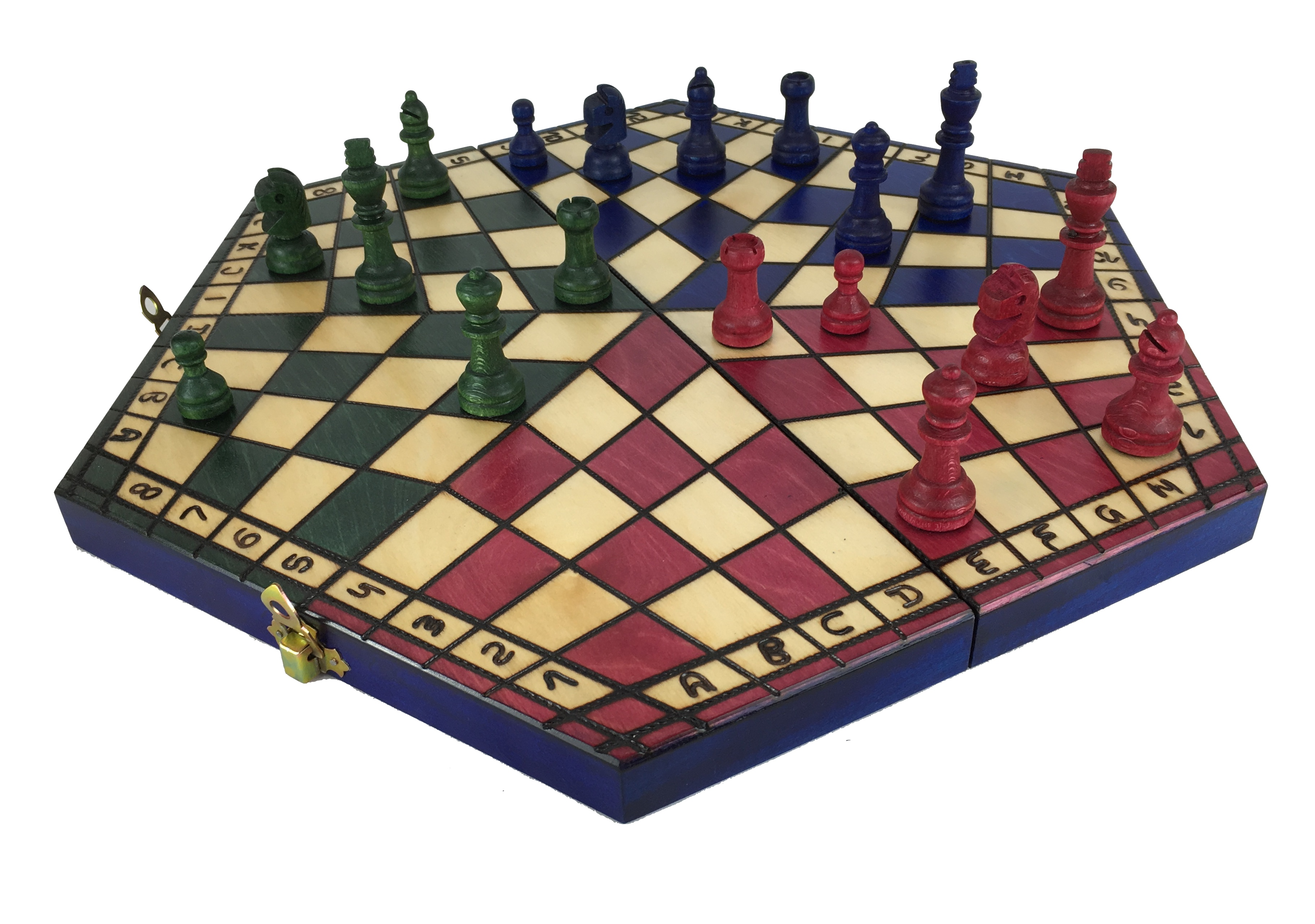 Chess Set For Three Players Hand Made Wooden 40 X 34